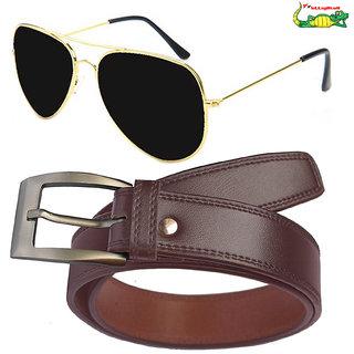 Elligator Men's Brown Belt With Gold-Black Aviator Sunglasses Combo