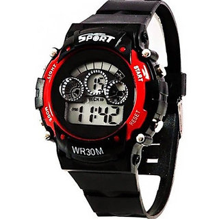 Sports Multi Color Light Digital Red Wrist Watch for Children