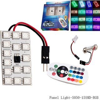 CP Bigbasket 12V T10 5050 15SMD Auto Remote Controlled LED Lamp Car RGB LED Interior Dome Wedge Reading Colorful Light