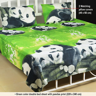 Textile home polycotton green 3d double bedsheet with free for Best color bed sheets