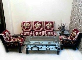 Luxmi Beautiful flowers Mahroon sofa cover (10pcs) - Mahroon