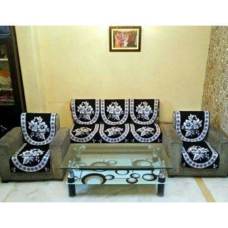 Luxmi Beautiful flowers Design Black sofa cover (10pcs) - Black
