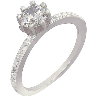MUCH MORE Gorgeous Silver Plated Princess Look Fashion Ring For Women