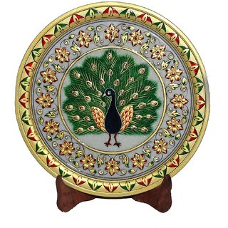 Marble Green Peacock Painting Plate