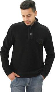 Matelco Men's Black Casual Buttoned Hi-Neck Sweater