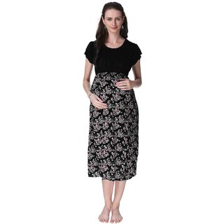 ea7fbd401b6 Buy Vixenwrap Oxford Black Printed A-Line Maternity Gown Online - Get 32%  Off