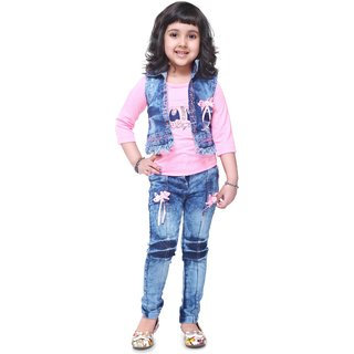 c849a0a0bb8a3 Buy Meia for girls Pink denim Top Jeans   Jacket set Online   ₹1199 from  ShopClues
