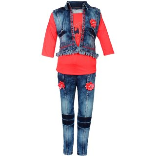 Meia for girls Red denim Top Jeans & Jacket set