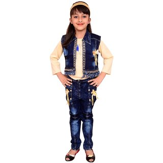Meia for girls Yellow denim Top Jeans & Jacket set