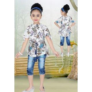 8f32c35882162e Buy Meia for girls Blue floral print Long Top   Capri set Online ...