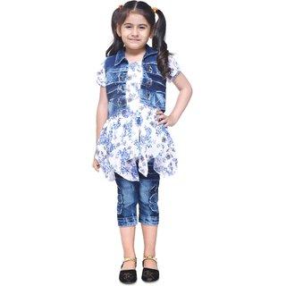 Meia for girls Blue floral print Long Top Capri & Jacket set