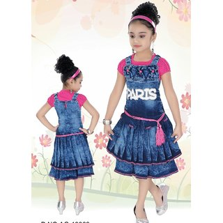79735d9b5d5e96 Buy Meia for girls Blue denim Top   dungaree frock set Online - Get ...