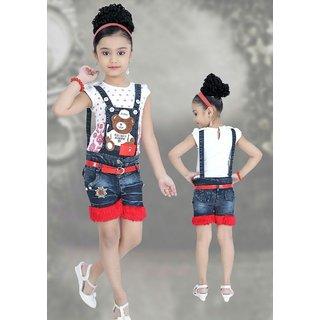 e93ceb9d48a86e Buy Meia for girls Red Blue denim Top   dungaree Shorts set Online ...
