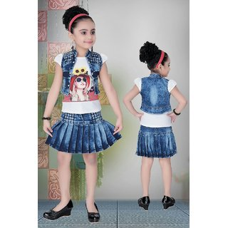 Meia for girls Blue denim Top Skirt & Jacket set