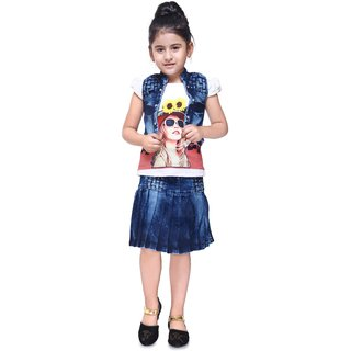 f98a46aa26bf2c Buy Meia for girls Blue denim Top Skirt   Jacket set Online - Get 68 ...