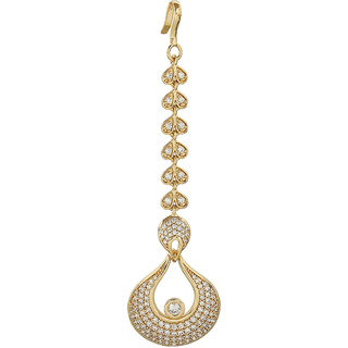 MUCH MORE Unique Gold Plated American Diamond Maang Tikka forehead Traditional Partywear Jewellery