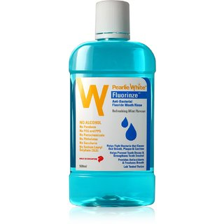 Pearlie White Fluorinze Alcohol Free Mouth Rinse 500ml (Imported)