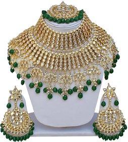 Lucky Jewellery Ethnic Green Color Gold Plating Padmavat Jewelry Kundan Necklace Set For Girls  Women