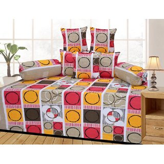 Attractivehomes Beautiful Cotton Diwan Set Includes 1 Single Bedsheet With 5 Cushion Covers 2 Bolster Covers