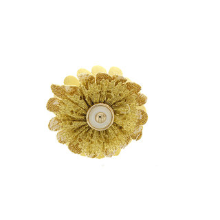 Anuradha Art Golden Colour Flower Inspired Very Pretty Designer Hair Accessories Clutcher/Butterfly Pin For Women/Gilrs