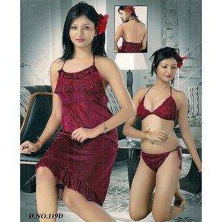 8ad9f4394eb35 Online Sexy Sleep Wear 3p Bra Panty   Babydoll Hot Night   Lingerie 119D  Cherry Pink Ne Prices - Shopclues India