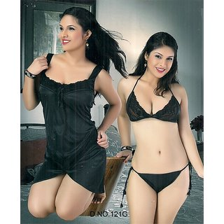 c3cca8b80f75d 121G Sexy Sleep Wear 3p Bra Panty   Babydoll Slip Hot Night   Lingerie Blac  Gift at Best Prices - Shopclues Online Shopping Store