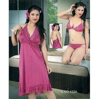 122A Sexy Sleep Wear 3p Bra Panty  Babydoll Slip Hot Night  Lingerie Pink Gift
