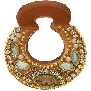 Anuradha Art Brown Colour Studded Sparkling Stone & Classy Kundan Designer Hair Accessories Clutcher/Butterfly Pin For Women/Girls
