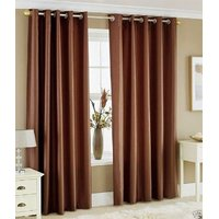 Styletex Plain Polyester Brown Door Curtain (Set of 4)
