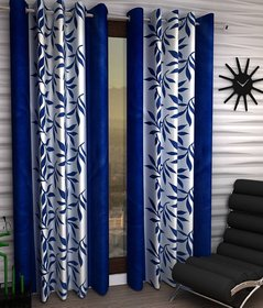 Styletex Floral Polyester Blue Long Door Curtain (Set of 2)