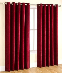 Styletex Plain Polyester Maroon Long Door Curtain (Set of 4)