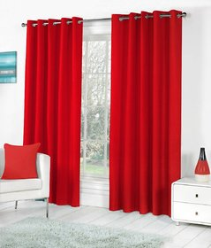 Styletex Plain Polyester Red Long Door Curtain (Set of 4)
