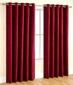 Styletex Plain Polyester Maroon Door Curtain Set of 2
