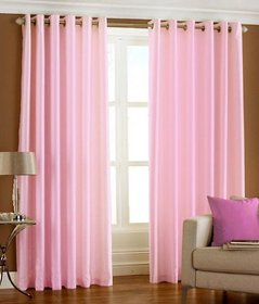 Styletex Plain Polyester Light Pink Long Door Curtain (Set of 4)