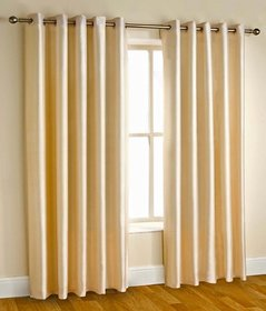 Styletex Plain Polyester Gold Long Door Curtain (Set of 4)