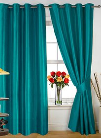 Styletex Plain Polyester Aqua Door Curtain (Set of 4)