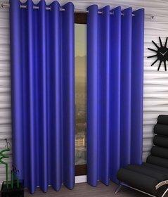 Styletex Plain Polyester Light Blue Long Door Curtain (Set of 4)