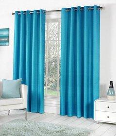 Styletex Plain Polyester Skyblue Long Door Curtain (Set of 4)