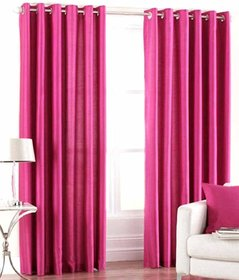 Styletex Plain Polyester Rani Pink Door Curtain (Set of 2)