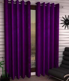 Styletex Plain Polyester Purple Window Curtain (Set of 2)