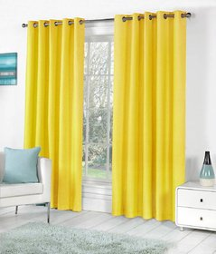 Styletex Plain Polyester Yellow Window Curtain (Set of 2)