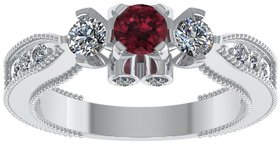 Shreeji Jewellers New 925 Sterling Silver CZ American Red And White Diamond Silver Ring For Women And Girls