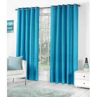 Styletex Plain Polyester Skyblue Long Door Curtain (Set of 4)