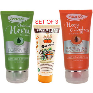 1 Margo Neem + 1 Saffron Facewash + 1 ADS Scrub (Set of 3)