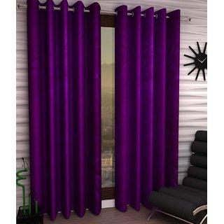 Styletex Plain Polyester Purple Window Curtain (Set of 2)