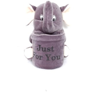 stuffed toy elephant pen stand 25 cm grey