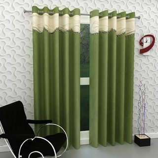 Styletex ForU Polyester Green Window Curtain (Set of 2)