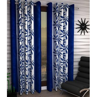 Styletex Floral Polyester Navy Blue Window Curtain (Set of 2)