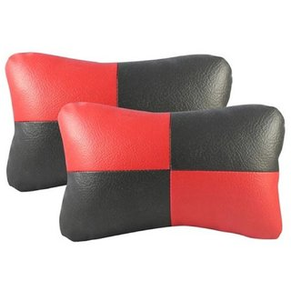 HMS Premium Quality Neck Rest Cushiont for Fiat Abarth - Colour Black and Red