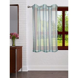 Lushomes Stylish Light Blue Sheer Curtains with Stripes for Windows
